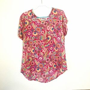 CATO Pink Floral Print Top Short Sleeve Hi Low - L